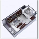 Plano de duplex moderno de un dormitorio