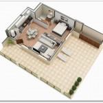 Plano de monoambiente en 3D