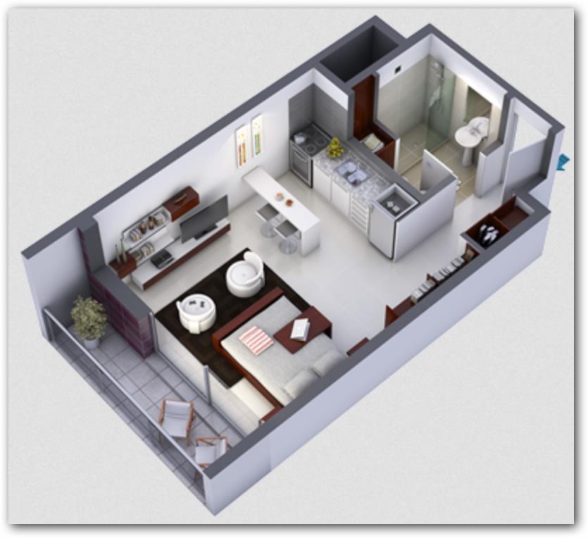 Plano de Monoambiente 3D