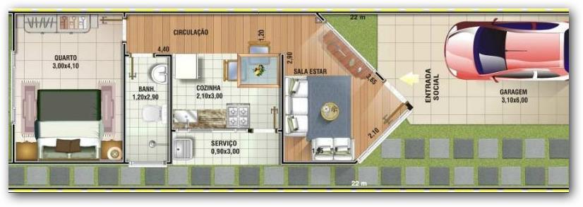 Plano de casa fachada angosta
