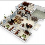 Plano de casa modernas de 3 habitaciones y 130 metros cuadrados