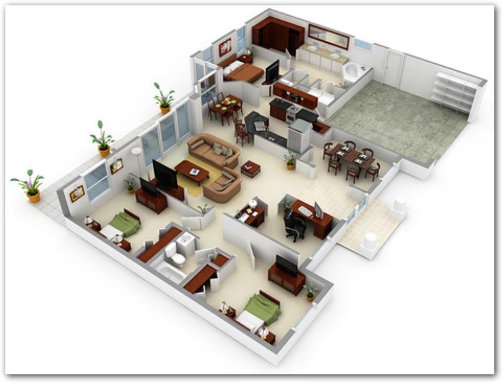 Casa moderna con 3 habitaciones