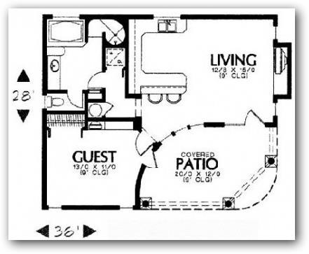 Plano de casa en esquina de un dormitorio