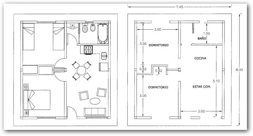 Plano de departamento de 60 metros cuadrados for Piso 60 metros cuadrados 3 habitaciones