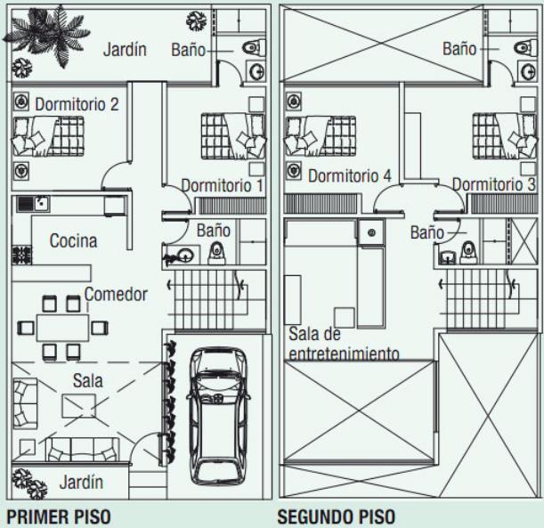 planos de casas de dos pisos de 120 metros