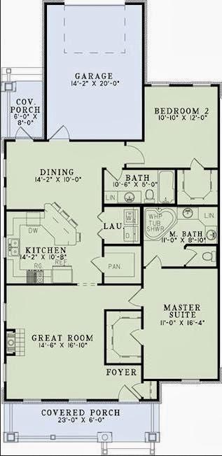 Plano de casa de doble entrada