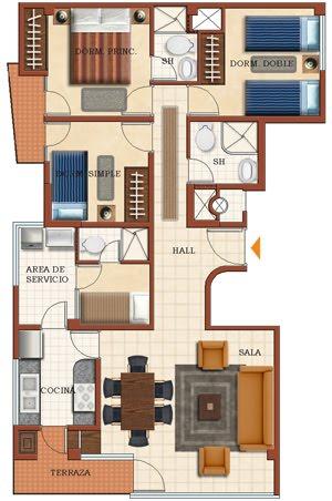Plano de casa pequeña de 4 dormitorios