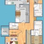 Plano de departamento de 140 metros cuadrados