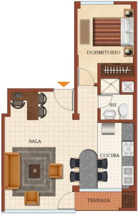 Decoracion cpntemporanea departamentos de 60m2 planos de for Planos de departamentos