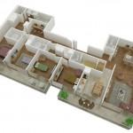 Plano de departamento moderno de 4 dormitorios en 3D