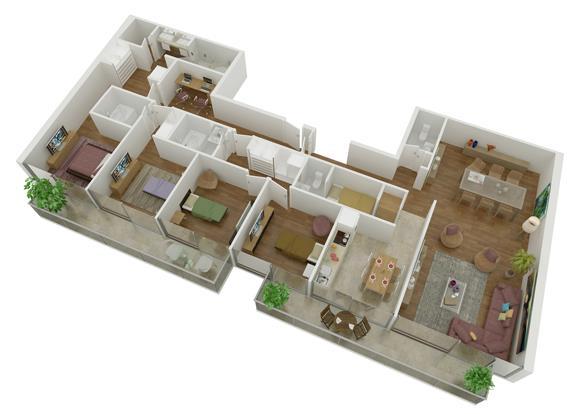 Plano de departamento moderno de 4 dormitorios