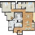 Planos de departamentos de 100 m2 y tres dormitorios