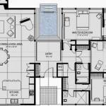 Plano de casa con distribución moderna de ambientes