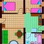 Plano de casa de 2 dormitorios con buena distribución