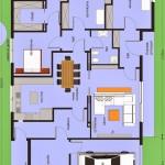 Plano de casa moderna con medidas de dos dormitorios