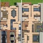 Plano de casa moderna en 2 pisos y 3 dormitorios