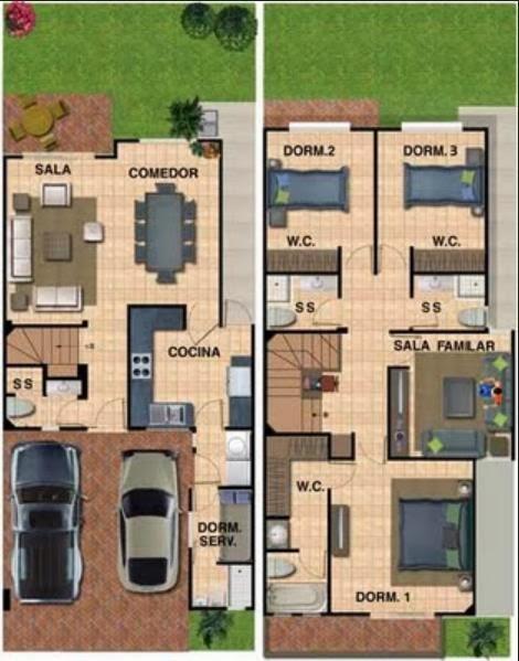 Plano de casa moderna en 2 pisos