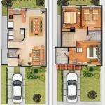 Plano de casa pequeña en 2 plantas y 3 dormitorios