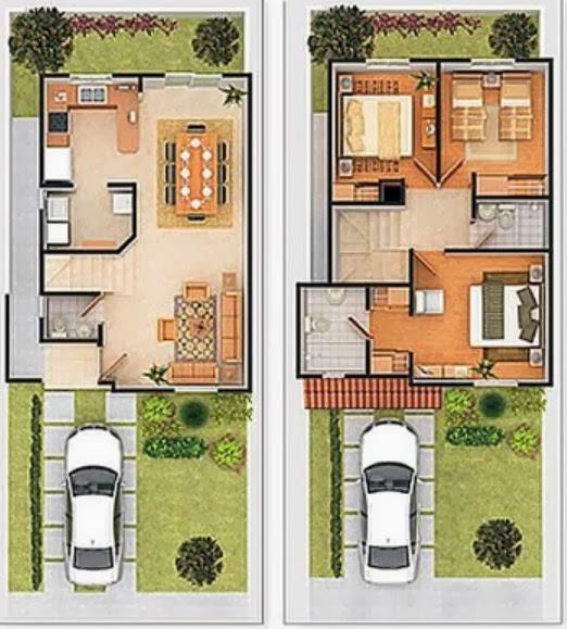 Plano de casa pequeña en 2 plantas