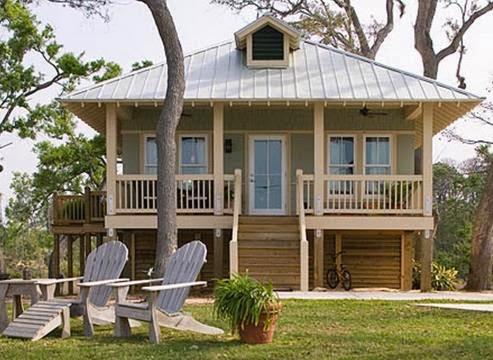 Plano de casa elevada de 2 dormitorios y 1 baño