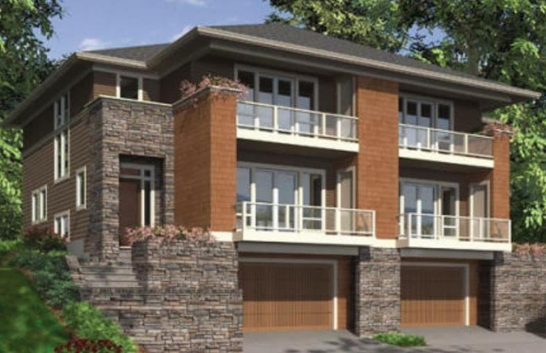 Casa en condominio de tres pisos y con garaje for Planos de casas de 3 pisos