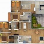 Departamento moderno con 4 dormitorios