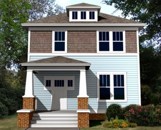 Plano de casa 2 pisos 3 dormitorios y porche de entrada for Porches de casas pequenas