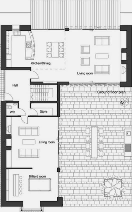 Plano de casa de cuatro dormitorios dos plantas y - Fotos de casas en forma de l ...