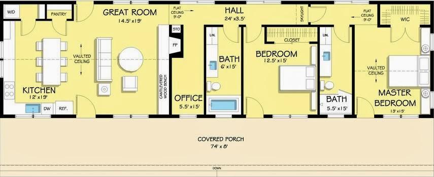 Plano de casa de dos dormitorios para terreno ancho