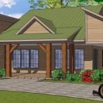 Plano de casa de una planta, dos dormitorios con galería lateral