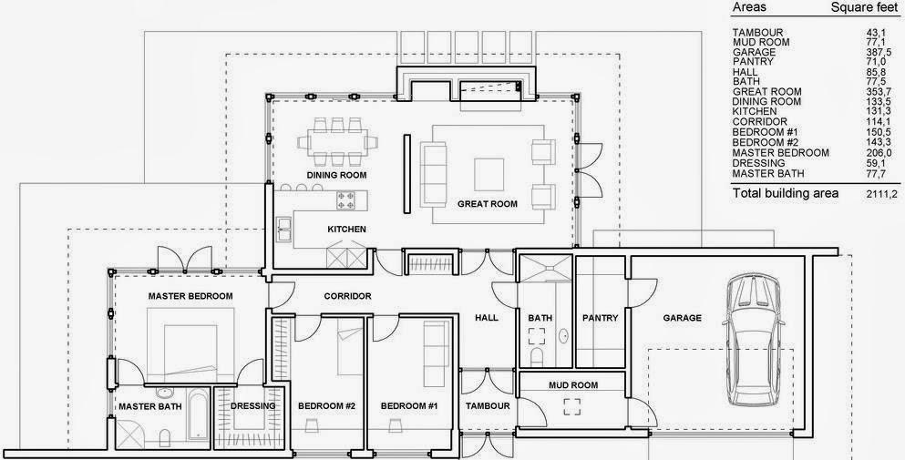 Plano de casa rústica de tres habitaciones y dos baños