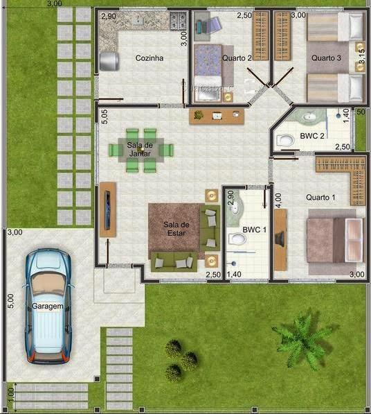 Casa de una planta con tres dormitorios y 250 metros for Diseno para casa de 90 metros cuadrados