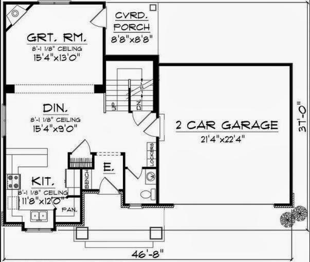 Plano de casa de dos plantas, con garage doble y tres dormitorios