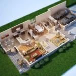 Casa moderna en 3D con garage doble