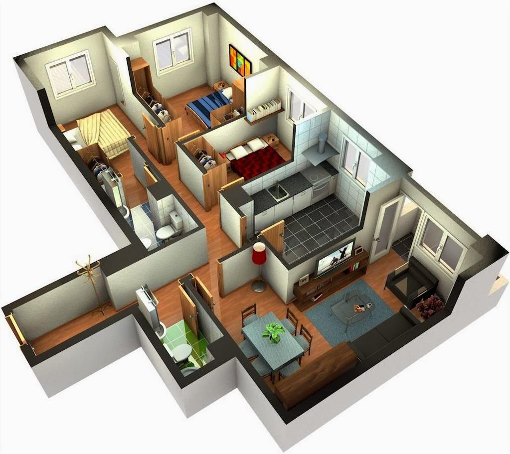 Casa peque a con tres habitaciones y dos ba os for Planos de casas 200m2