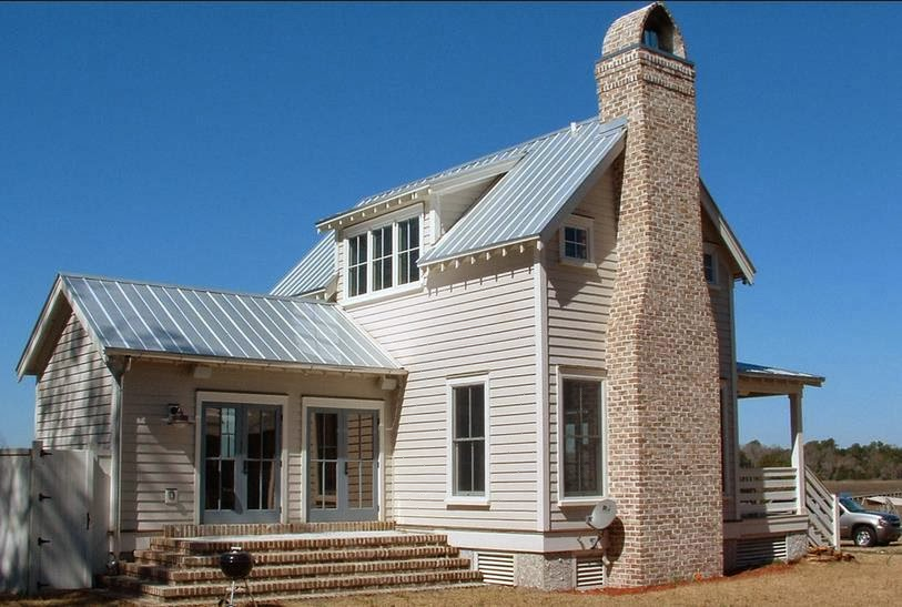 Fachada de casa con visio for Casas de chapa para jardin