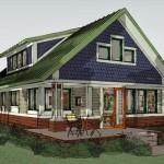 Plano de casa de campo moderna, con 2 dormitorios y 2 plantas