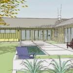 Plano de casa moderna de 4 dormitorios, con 3 baños en un piso