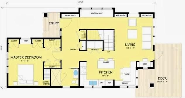 plano de casa de campo moderna con dormitorios y plantas