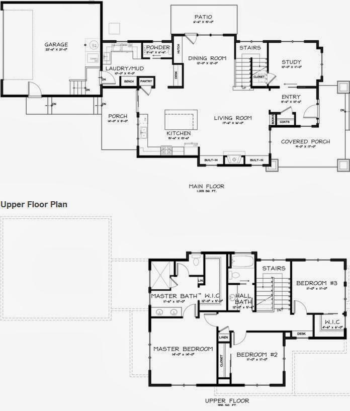 Plano de casa de madera con 3 dormitorios y muy bonita
