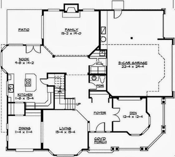 Plano de casa elevada de 3 dormitorios y 2 pisos