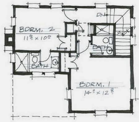 Plano de casa pequeña de 2 pisos