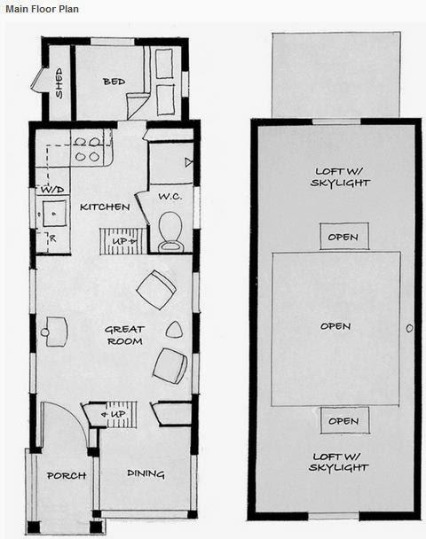 Plano de casa pequeña de madera y 1 dormitorio