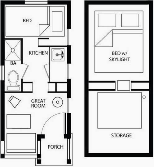 Plano de caseta de madera de 1 dormitorio