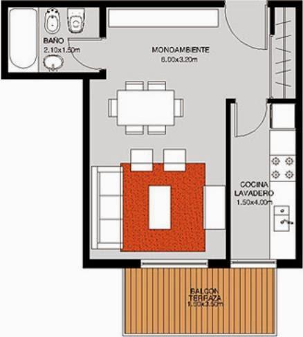 Plano de monoambiente for Apartamentos de 30 metros cuadrados