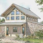 Plano de casa de campo de 2 plantas con estilo rústico