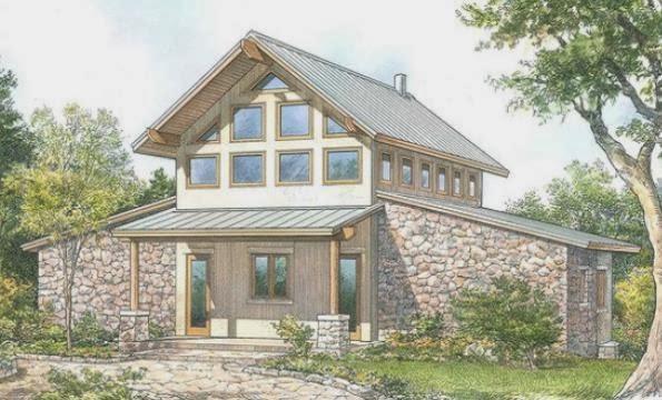 Fachada de casa de campo de 2 plantas con estilo rústico