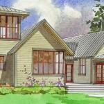 Plano de casa grande con 4 dormitorios y un pequeño ático