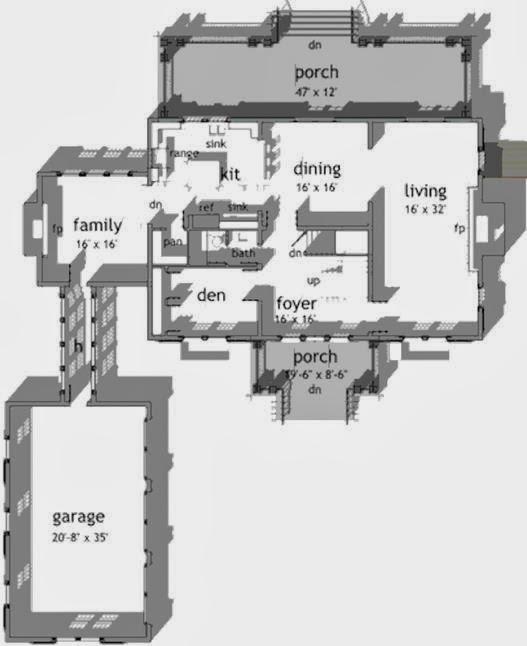 Plano de casa con garage aparte y 4 dormitorios