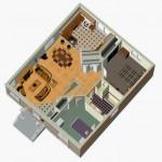 Plano de casa de 2 dormitorios con sótano